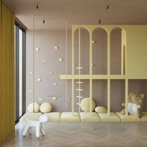 pink&yellow kids bedroom