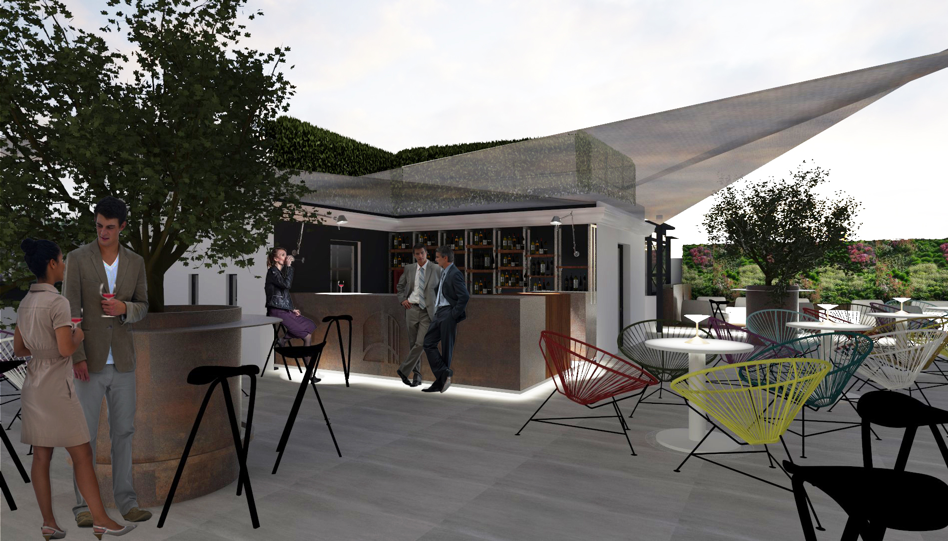 bar on the rooftop
